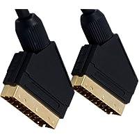 1m Scart-Kabel - Professionelle Qualität - 24k Gold Plated - Voll verkabelt 21-polig Scart - Audio-und Video-Kabel - Männlich zu Male - Abgeschirmt