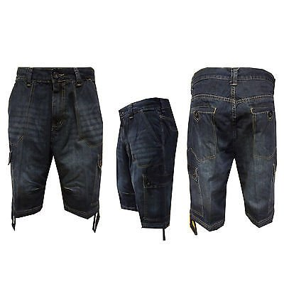 mens-rockland-denim-shorts-dark-wash-cargo-pockets-zip-fly-pull-string-waist