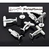 Pax 10 Rohlinge für Manschettenknöpfe, gestreift, glatte Platte, 8 mm, silberfarben, S1114732