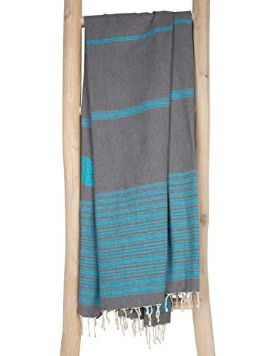 ZusenZomer Fouta Hamamtuch XXL 100x190 Biarritz Grau Türkis - Strandtuch Saunatuch Hamam Badetuch 100% Baumwolle - Original Fair Trade Hammam Tücher