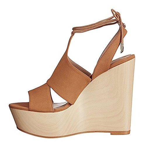 Damen Peep Toe Sandalen High-Heel Keilabsatz Knöchelriemchen Slingback mit Plateau Gelb