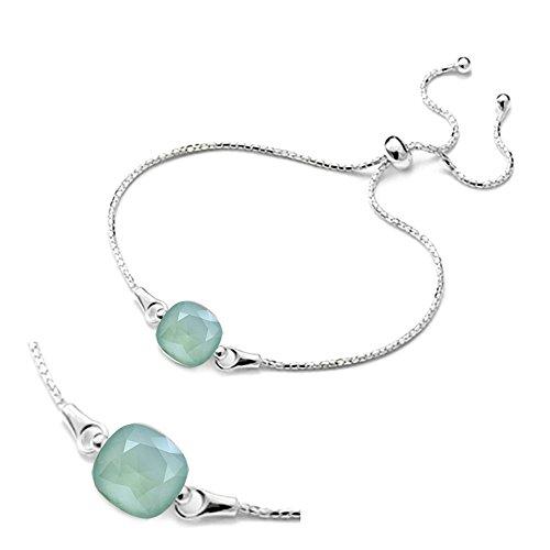 """Crystals & stones braccialetto regolabile """"square"""", in argento 925con swarovski® elements originali, splendido braccialetto da donna, con scatola per gioielli e argento, colore: verde menta, cod. 7"""