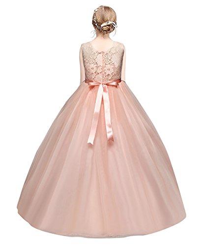 MisShow Robe Fille de Demoiselle d'honneur pour Mariage Robe Fille Fête Elégante Longue en Dentelle Florale par 150cm 9-10ans Rose