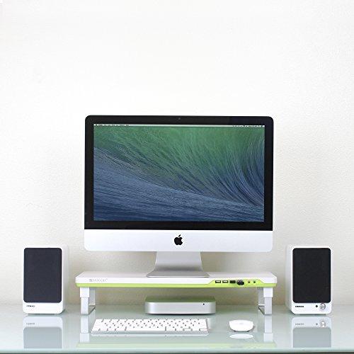 Satechi F1 Soporte Inteligente para Monitor con Cuatro Puertos USB y Puertos de Extensión para Micrófono/Auriculares para iMac de 21,5 pulgadas, MacBook Pro, MacBook, Dell, PC, Samsung y más (Blanco)