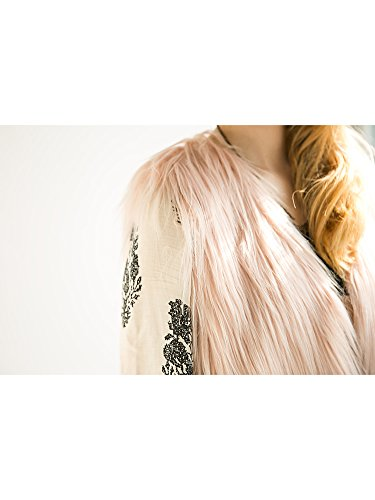 Simplee Apparel Femme Veste Gilet en Fausse Fourrure chaude sans Manches V Col fluffy Outwear Hiver Automne Casual Douche Manteau Rose