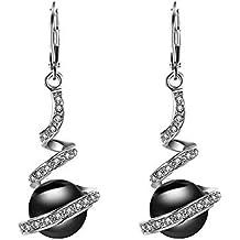 e88c3d93689 JAKU Pendientes de gota chapados en oro de imitación de perlas de diseño de  circonio pendientes