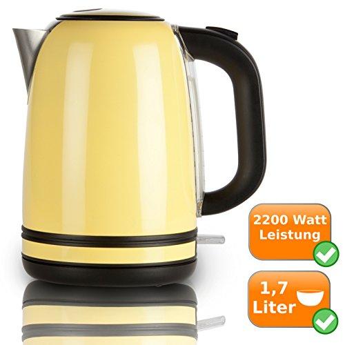 Retro Wasserkocher aus rostfreiem Edelstahl, 1,7Liter Fassungsvermögen, 2200Watt, gelb