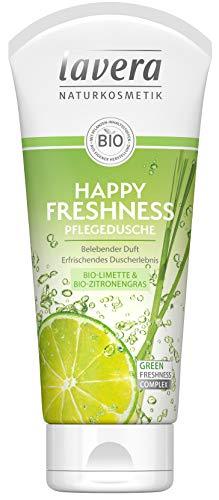 lavera Happy Freshness Pflegedusche Bio Limette & Zitronengras ∙ Belebender Duft ∙ Vegan Bio Pflanzenwirkstoffe Naturkosmetik Natural & innovative Duschgel 2er Pack(2x200 ml) -
