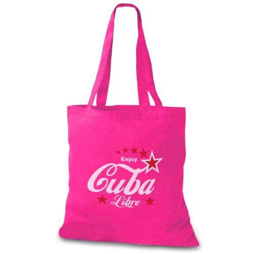 StyloBag Jutebeutel Enjoy Cuba Libre Stofftasche Pink