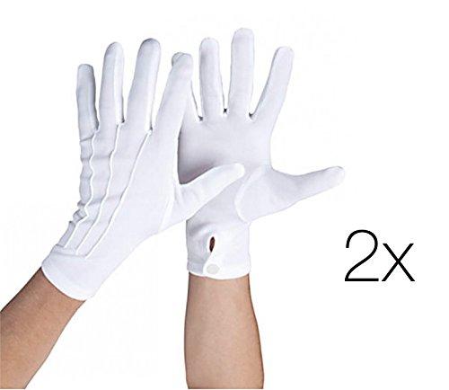2x Paar Set Handschuhe Knopf weiß weis für Kostüm Micky für Damen Frauen Mouse Fasching Karneval (2x Handschuhe weiß) (Handschuh Mini Unisex)