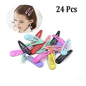 24 Stücke Snap Haarspangen Einfarbig Metall Baby Haarspange Haarspangen für Mädchen Kleinkinder Kinder Frauen Haarschmuck (Mit Organza Tasche)