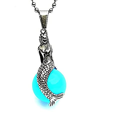 amdxd Jewelry Herren-Anhänger Edelstahl Halskette Vintage Style Blau The Little Mermaid Ball 4 * 1,8 cm