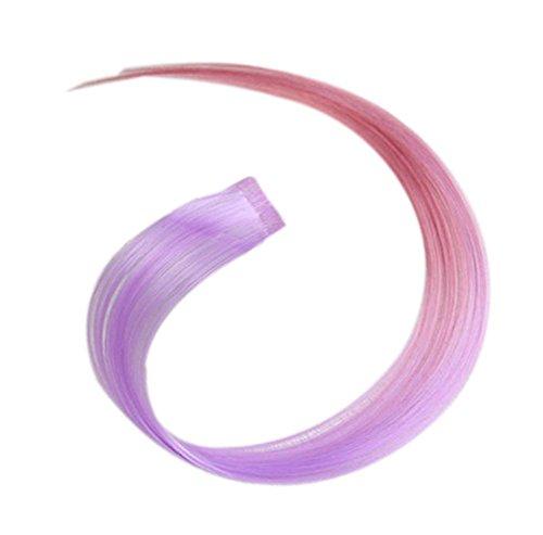2 morceaux de Mode cheveux invisibles pièce extension perruque, violet clair