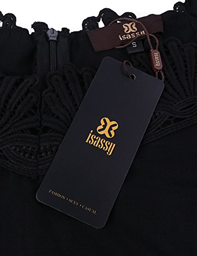 ISASSY Damen-Lingerie, sexy Bodys, Bodyanzug, Top, T-Shirt, Kombishort, Kombinationen aus Spitze ohne Ärmel im Sommer Schwarz