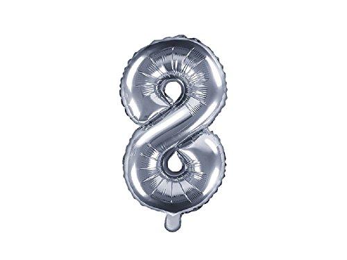 SiDeSo® Folienballon 35cm Silber Heliumgeeignet Party Geburtstag Jahrestag Hochzeitstag Jubiläum Zahlenluftballon Luftballon Buchstabe Zahl Alphabet (Zahl 8)