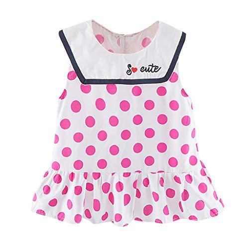 Livoral Mädchen ärmelloses Cartoon Polka Dot Prinzessin Kleid Kind Baby Print Rüschenkleid Kleid(Rosa,100) -