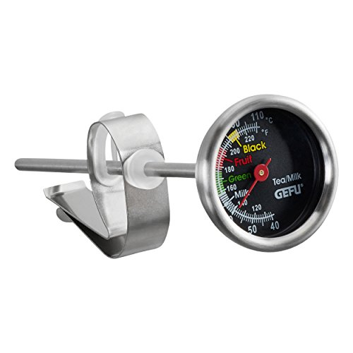Deluxe-zifferblatt-skala (GEFU ge21770Tee/Milch Thermometer, Edelstahl, Grau, 14,5x 3,7x 3,7cm)