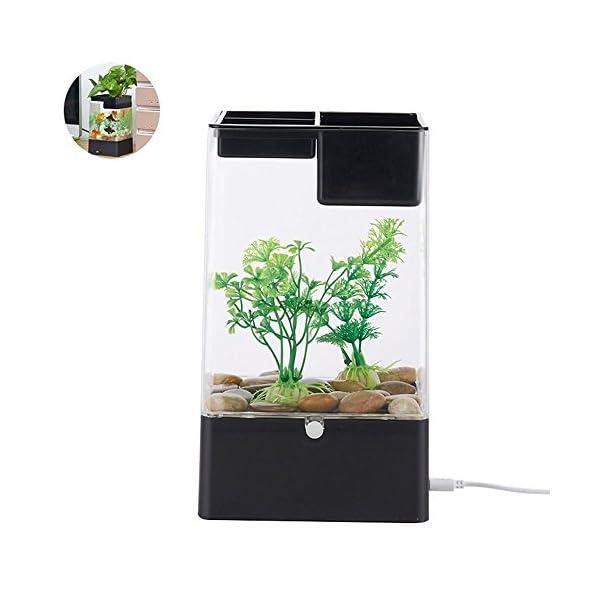 Aolvo Aquaponic Betta Fish Tank, Mini Water Garden Fish Tank with LED Colorful Lights, Cube Aquarium Starter Kit…