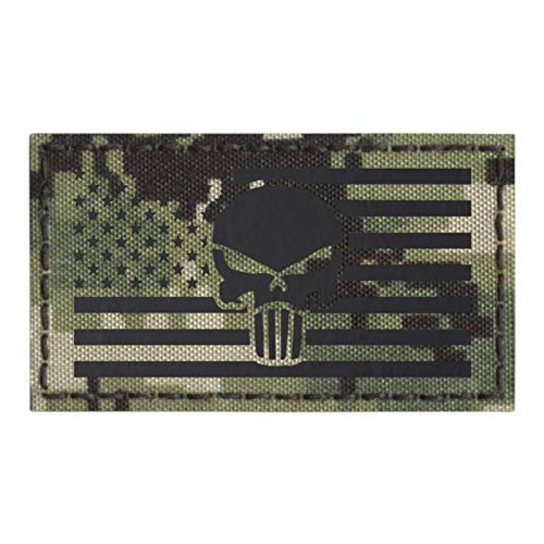 AOR2 IR Punisher Skull USA American Flag NWU Type III Infrared 2x3.5 IFF Tactical Morale Hook&Loop Patch