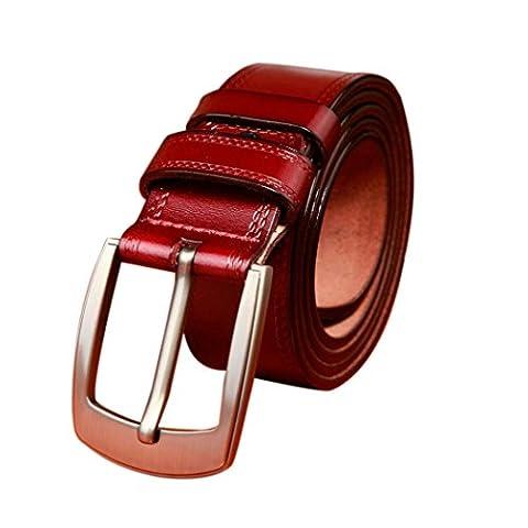 Gürtel, Rcool Männer Metall Wölbung Leder Bund Vintage Classic Pin Gürtelschnalle (Rot)