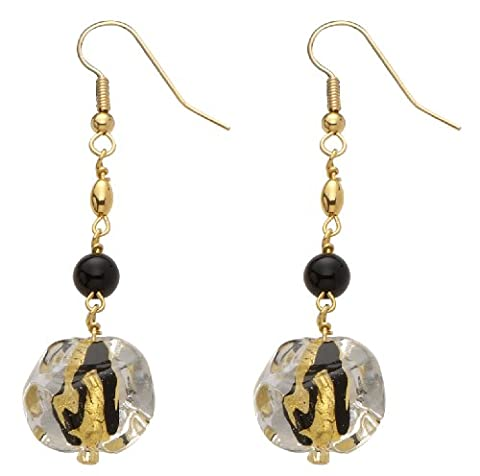 Valentina Genuine Murano Glass Black Bead and 24 ct Gold Foil Earrings of 4 cm
