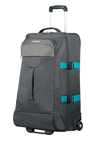 AMERICAN TOURISTER Road Quest - 2 Compartments Wheeled Duffle M Bolsa de viaje, 69 cm, 62.5 liters, Gris (Grey/turquoise)
