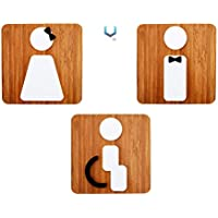 Signs inodoro [B2] | 2 x baño Restroom Toilette - Etiquetas y pittogrammi para puertos, locali, oficinas, personalizables, placa de madera en relieve