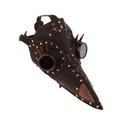 Baosity Lederner Punk Maske für Damen Herren, Maskenball Halloween Kostüm Zubehör - Braun