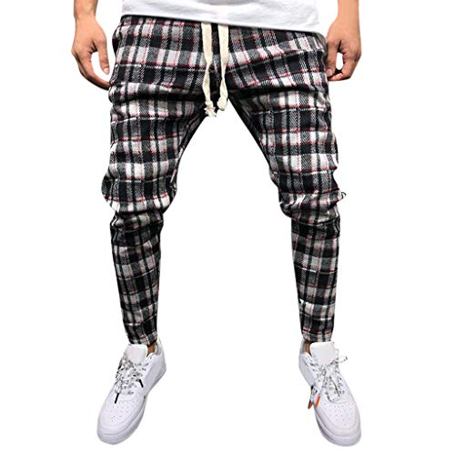 Nach Hause Hose Jogginghose Summer Fashion Casual Breathable Herren Plaid Straps Füße Hosen Rot XL -