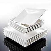MalacasaSerie Carina Set di 12 pezzi porcellana di piattiDimensione Piatti Fondi L * W * H : 20.5*20.5*4.5 CM / PESO : 517G  Piatti Piani L * W * H : 25.5*25.5*2.5 CM / PESO : 875G Caratteristiche: - Sano e Durevole Porcellana Ceramica, Atoss...
