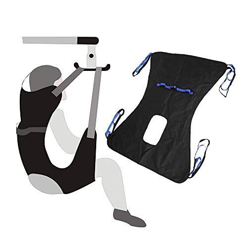 Imbracatura toilette Attrezzatura medica dell'elevatore paziente sollevatore Bariatric Cinghia trasferimento chirurgico cinghia sollevamento per handicap con supporto a quattro punti (nero)