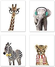 Sweet Jojo Designs Safari Jungle Animal Wall Art Prints Room Decor for Baby, Nursery, and Kids - Set of 4 - El