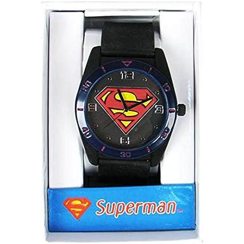 Ufficiale Superman Logo Serbatoio Cassa Della Cinghia Nera Orologio da Polso - In Scatola