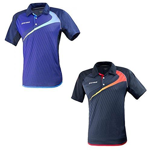 VICTAS Hemd V-Shirt 210, XXL, schwarz/rot