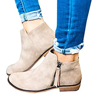 Hafiot Chelsea Boots Damen Ankle Stiefeletten Kurzschaft Wildleder Leder mit Absatz Kurze Reissverschluss 2.5cm Winter Stiefel Beige Grau 35-43 BG35