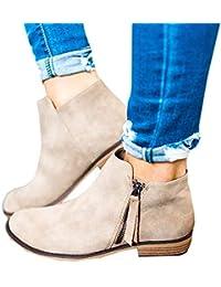 Boots Femme Daim Bottine Femmes Plates Basse Cuir Bottes Chelsea Chic Compensées Grande Taille Talon Chaussures 2.5cm Beige Gris Noir 35-43