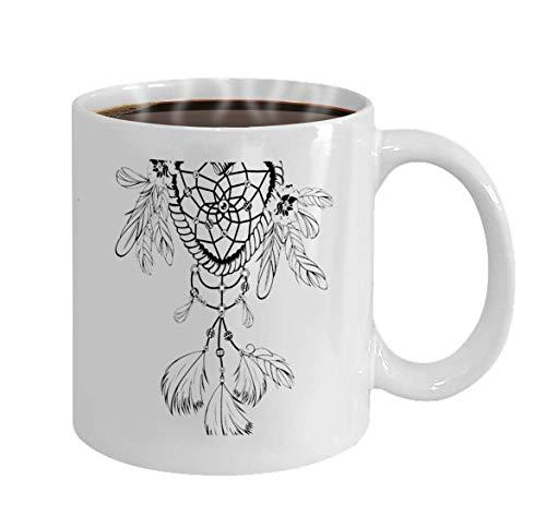 Rael Esthe Taza de café Taza de Regalo Atrapasueños Plumas Estilo Boho Refrescante