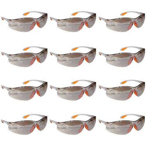 Schutzbrille - 12 Packung Klare Schutzbrillen Zum Schutz der Augen mit Grauen Acryl Kunststoff-Linsen, Gumminase und Ohrhaken für Festen Sitz an den Ohren, Schutzbrille Baustelle und Kinder