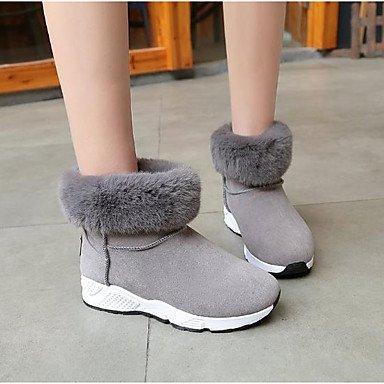 SANMULYH Scarpe Donna Pu Winter Snow Boots Stivali Tacco Basso Round Toe Stivaletti/Stivaletti Di Abbigliamento Casual Verde Grigio Nero Grigio