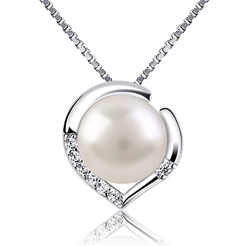"Women's Pearl Heart Necklace Pendant, RoséLoving Jewellery 925 Sterling Silver Necklaces""LOVER"", 3A Freshwater Cultured Pearl, Gift for Women/Wife/Daughter"