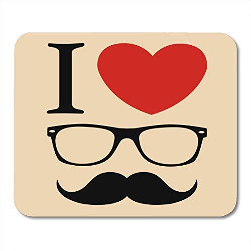 Liebe Hipster (Mauspads Auge kühl Ich liebe Hipster-Art-Gläser und Schnurrbart-Symbol-begriffliche Mausunterlage für Notizbücher, Tischrechnermatten Bürozubehöre)