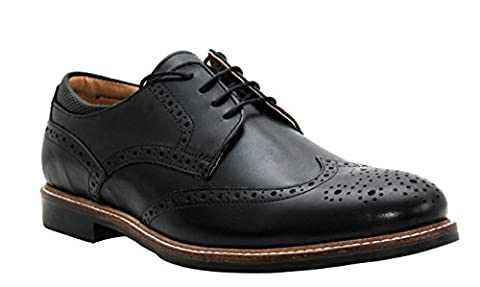 Mens Gents Red Tape Genuine Leather Round Toe Smart Formal Office Black Brogues Shoes UK Sizes 7-12 (UK 11, Black)