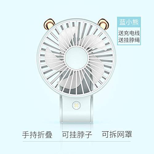 ELECTION USB Ventilator Tragbarer Kleiner Lüfter Hand-Faltfächer Kopfhörer Design Wearable Necklance-Lüfter mit Led Doppeltem Windkopf(Blauer bär)