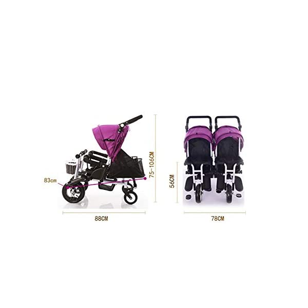 CHEERALL Twin Baby Stroller Children's Double Tricycle Summer Lightweight Breathable Toddler Pushchairs Double Buggies for Kids from Birth to 4 Years Old,B CHEERALL 3 in 1 MULTIFUNCTION:The canopy and push bar can be removed when kids grows, suitable for 3 childhood stages:Lying-pushing, Sitting-pushing, Cycling. SECURITY:Kids trike frame is made of high quality materials. Baby tricycle passed the 3C certification: non-toxic test, flame resistance test and durability test.Suitable for children from birth to 4 years. ADJUSTABLE SLEEPING BASKET & ADJUSTABLE CANOPY:The sleeping basket can be adjusted 100-175 degrees to meet the different needs of the baby to sit and lie down.Adjustable awnings allow you to adjust the different opening modes of the awning depending on the weather. 6