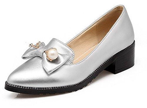 AgooLar Femme Pointu Tire Pu Cuir Couleur Unie à Talon Correct Chaussures Légeres Argent