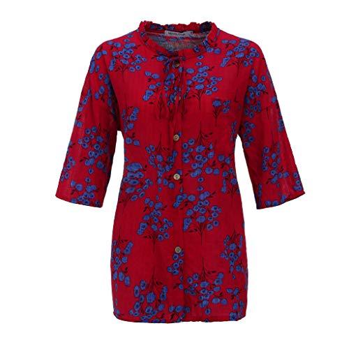 (CAOQAO Damen Mode Plus Größe Druck Tasche Verband Lässig Leinen O-Neck Bluse T-Shirt(XXL,Rot))