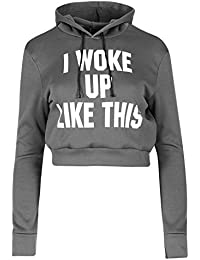 Be Jealous Womens Overhead I Woke Up Like This Printed Pullover Sweatshirt Hoody Crop Top UK Size 6-14