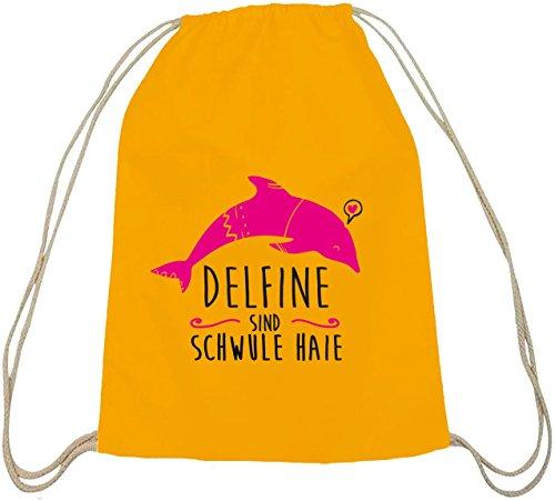 Shirtstreet24, Delfine sind schwule Haie, Baumwoll natur Turnbeutel Rucksack Sport Beutel gelb natur
