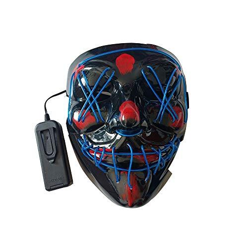 BaronHong LED Light Cosplay Maske Halloween Erschreckende EL Leuchten Luminous Glow Masken für Festival Dance Parties Kostüm (blau, M) (Luminous Dance Kostüm)