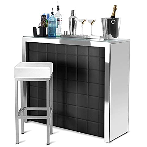 Hollywood Home Bar Counter with Black Faux Leather Front, Mirror Panels - Cocktail Bar and Wine Rack